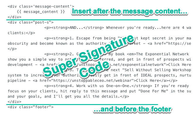 Example email super-signature HTML code, Dean Jackson style.